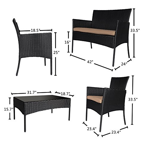 Cloud Mountain 5 Piece Rattan Furniture Set Patio