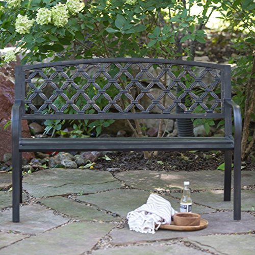 Cosmic-Furniture-Traditional-Curved-Back-Metal-Garden-Bench-Rugged-and-Rustic-Powder-Coated-Tubular-Steel-Blackened-Metal-with-a-Weathered-Bronze-Finish-Slatted-Seat-Woven-Style-Back-Classic-0-2