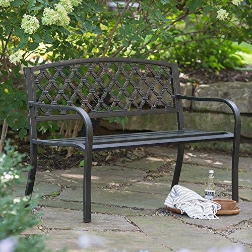 Cosmic-Furniture-Traditional-Curved-Back-Metal-Garden-Bench-Rugged-and-Rustic-Powder-Coated-Tubular-Steel-Blackened-Metal-with-a-Weathered-Bronze-Finish-Slatted-Seat-Woven-Style-Back-Classic-0