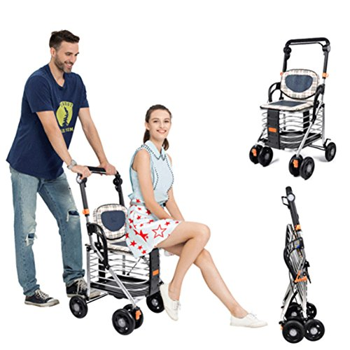DGS-Shopping-Trolley4-Wheel-Trolley-With-Folding-Seat-Foldaway-For-Easy-StorageCollapsible-Elderly-Scooter-0-1