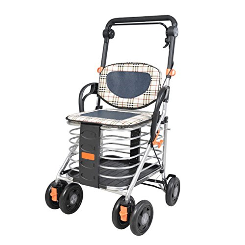DGS-Shopping-Trolley4-Wheel-Trolley-With-Folding-Seat-Foldaway-For-Easy-StorageCollapsible-Elderly-Scooter-0