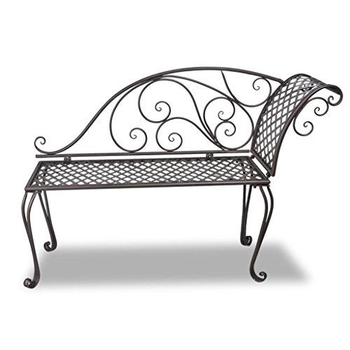 Daonanba-Elegant-Garden-Bench-Metal-Garden-Chaise-Lounge-Patio-Decoration-Antique-Brown-Scroll-patterned-0-0