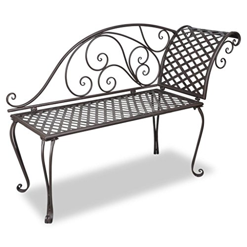 Daonanba-Elegant-Garden-Bench-Metal-Garden-Chaise-Lounge-Patio-Decoration-Antique-Brown-Scroll-patterned-0