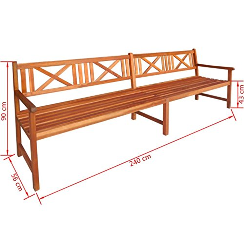 Daonanba-Lovely-Garden-Bench-Long-Outdoor-Bench-Solid-Acacia-Wood-945x22x354-Brown-0-0