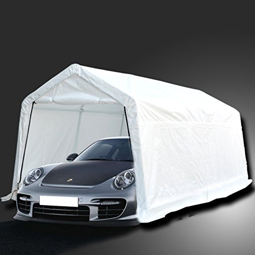 Deari-10-x-15-Feet-Heavy-Duty-Carport-Outdoor-Portable-Car-Canopy-Shelter-with-Removable-Side-Panels-Doors-and-8-Steel-Legs-White-0-0