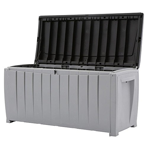 Deck-Box-Outdoor-Plastic-90-Gallon-Grey-Storage-With-Free-Combination-Keypad-BlackGrey-0-0