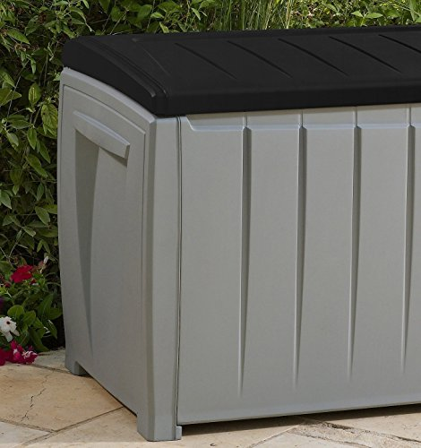 Deck-Box-Outdoor-Plastic-90-Gallon-Grey-Storage-With-Free-Combination-Keypad-BlackGrey-0-1