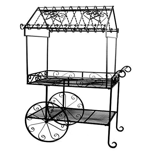 Deer-Park-Ironworks-Black-Flower-Cart-Plant-Stand-0