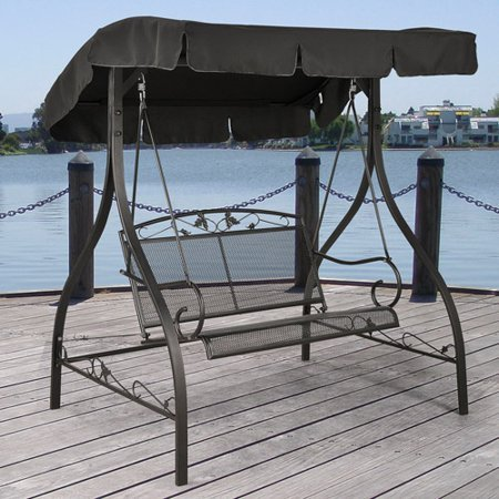 Distinctive-Deco-Design-with-Traditional-Style-Two-Seats-Elegant-and-Practical-Iron-Outdoor-Swing-Sturdy-and-Low-Maintenance-Materials-Adjustable-Canopy-Top-for-Shade-Coverage-Deep-Black-Finish-0
