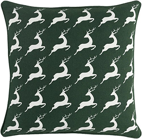 Diva-At-Home-18-Green-and-White-Deer-Print-Woven-Square-Throw-Pillow-Down-Filler-0