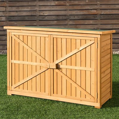 Double-Doors-Fir-Wooden-Garden-Yard-Shed-Lockers-Outdoor-Cabinet-Unit-For-Storage-0-0
