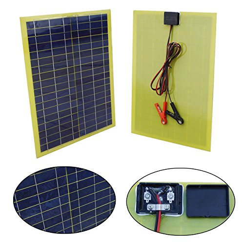 ECO-LLC-20W-12V-Portable-Epoxy-Solar-Panel-Kit-for-Car-Camping-Adventure-With-10A-Battery-Charge-Control-Clips-0-0