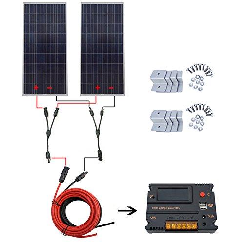 ECO-LLC-300W-Solar-System-2pcs-150W-Solar-Panel-w-20A-Charge-Controller-Home-RV-0