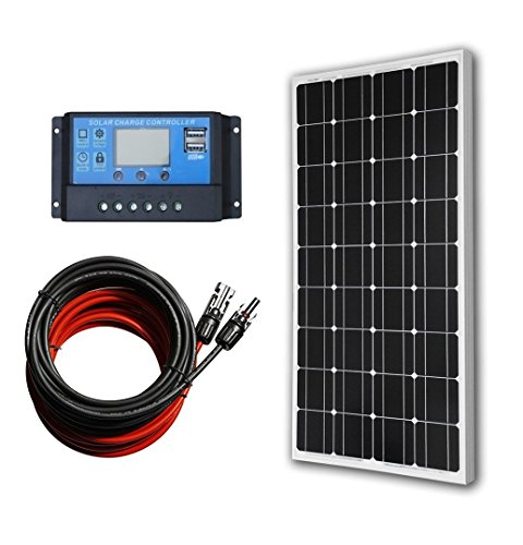 ECO-WORTHY-100-Watts-Solar-Panel-20A-LCD-Display-PWM-Charge-Controller-30-Feet-Solar-Cable-Adaptor-Off-Grid-RV-Boat-Kit-0
