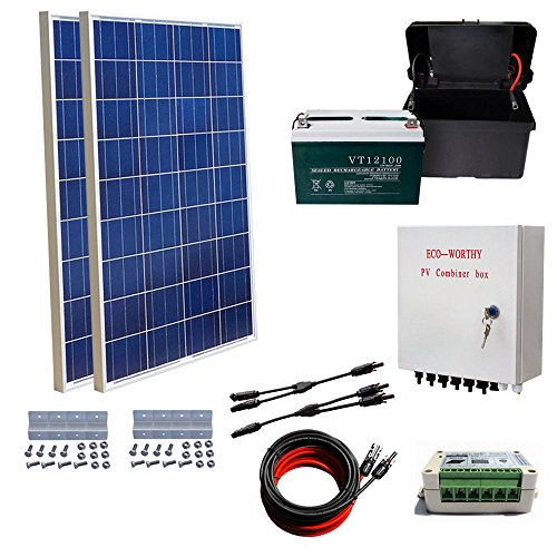 ECO-WORTHY-200-Watts-Solar-Panel-Kit-2pcs-100W-Poly-Solar-Panel-100AH-AGM-Battery-Solar-Cable-Adapter-15A-Charge-Controller-Combiner-Box-Z-Mounting-Brackets-for-RV-Boat-0