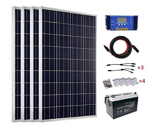 ECO-WORTHY-400-Watt-24V-Solar-Panels-Kits-4pcs-100W-Solar-Panel-60A-PWM-Charge-Controller-Solar-Cable-Z-Mounting-Brackets-Y-Branch-MC4-Connectors100Ah-12V-Sealed-Lead-Acid-Battery-0