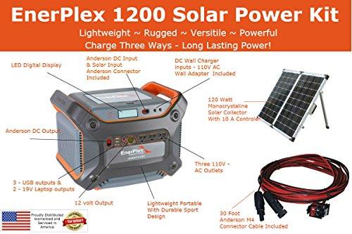 EnerPlex-1200-Solar-Battery-Generator-Kit-with-120W-Mono-crystalline-Solar-Collector-1000W-Pure-Sine-Wave-Inverter-Anderson-M4-Connector-0-2