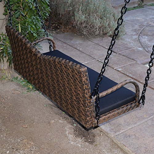 Espresso-52-Patio-Porch-Swing-Chair-Resin-Wicker-Tree-Ceiling-Hanger-Hanging-WChains-0-2