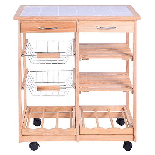 FDInspiration-263-Rolling-Pine-Wood-Kitchen-Trolley-Cart-Pull-Out-ShelveswStorage-Drawers-0-0