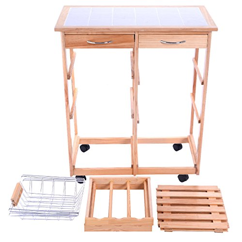FDInspiration-263-Rolling-Pine-Wood-Kitchen-Trolley-Cart-Pull-Out-ShelveswStorage-Drawers-0-1