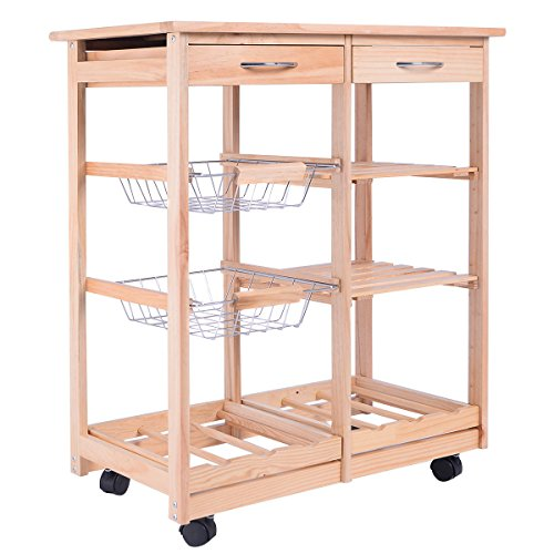 FDInspiration-263-Rolling-Pine-Wood-Kitchen-Trolley-Cart-Pull-Out-ShelveswStorage-Drawers-0