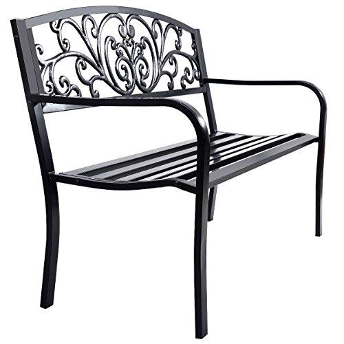 FDInspiration-Patio-Steel-Frame-Garden-Bench-50-Cast-Iron-Backrest-Chair-0-0