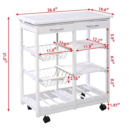 FDInspiration-White-Portable-264-Pine-Wood-Rolling-Kitchen-Island-Cart-Shelf-Storage-Trolley-wDrawers-Baskets-with-Ebook-0-0