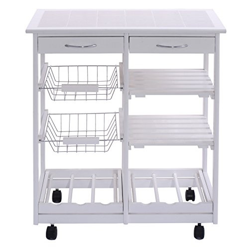 FDInspiration-White-Portable-264-Pine-Wood-Rolling-Kitchen-Island-Cart-Shelf-Storage-Trolley-wDrawers-Baskets-with-Ebook-0-1