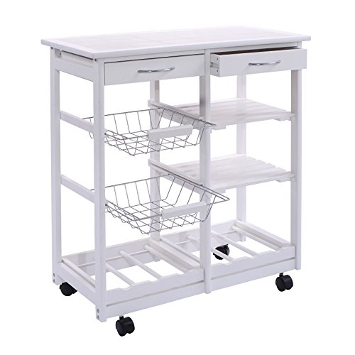 FDInspiration-White-Portable-264-Pine-Wood-Rolling-Kitchen-Island-Cart-Shelf-Storage-Trolley-wDrawers-Baskets-with-Ebook-0