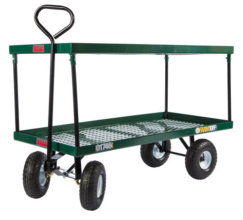Farm-Tuff-Double-Deck-Metal-Wagon-24-Inch-by-48-Inch-Green-0