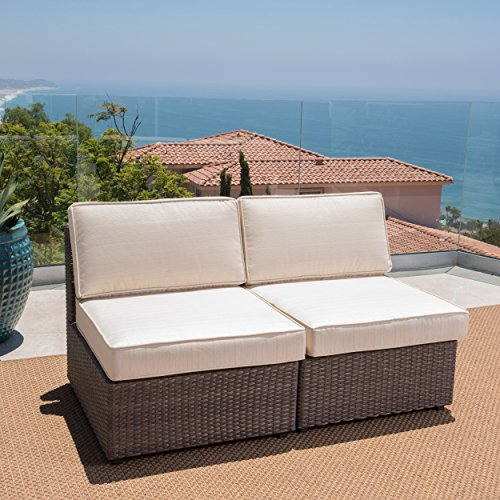 GDF-Studio-Santa-Cruz-Outdoor-Hazelnut-Brown-Wicker-Armless-Sectional-Sofa-Seat-with-Beige-Water-Resistant-Cushions-Set-of-2-by-Christopher-Knight-Home-0-0