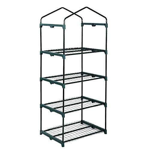 GHP-11Lbs-4-Shelves-Portable-Green-Transparent-Plastic-Covering-Greenhouse-0