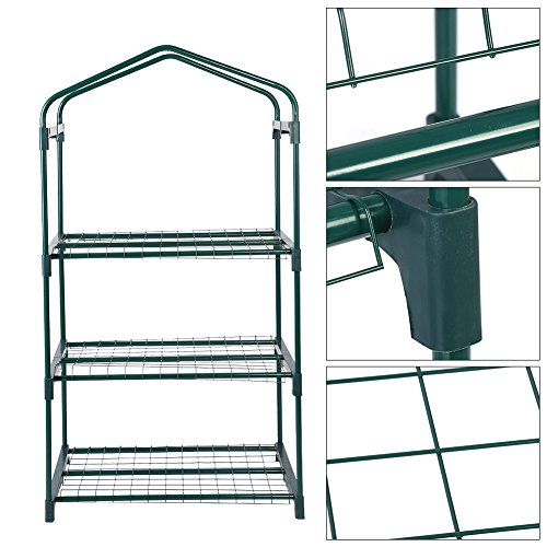 GLOGLOW-3-Tiers-Reinforced-Iron-Self-Frame-for-Portable-Greenhouse-Cover-Garden-Mini-Greenhouse-Iron-Stand-Flower-Pot-Stand-Self-69-x-49-x-126cm2717-x-1929-x-4961-inch-0-2