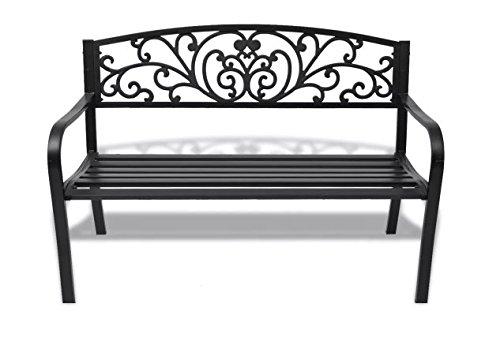 Garden-Bench-Black-Cast-Iron-Romantic-Nights-Detailed-Garden-Durable-Steel-Outdoor-Steel-Frame-cast-Iron-backrest-50-x-24-x-33-SKB-Family-0-0