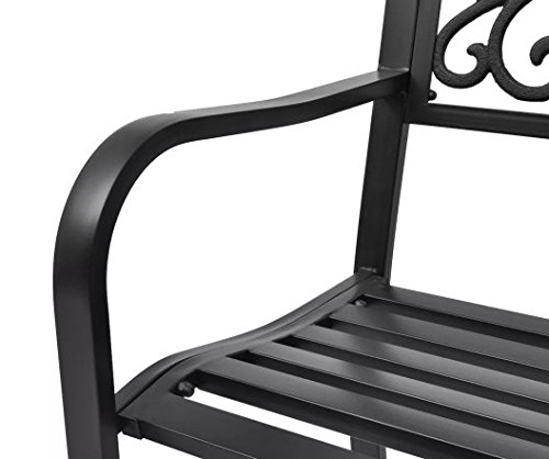 Garden-Bench-Black-Cast-Iron-Romantic-Nights-Detailed-Garden-Durable-Steel-Outdoor-Steel-Frame-cast-Iron-backrest-50-x-24-x-33-SKB-Family-0-2