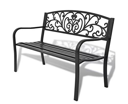 Garden-Bench-Black-Cast-Iron-Romantic-Nights-Detailed-Garden-Durable-Steel-Outdoor-Steel-Frame-cast-Iron-backrest-50-x-24-x-33-SKB-Family-0