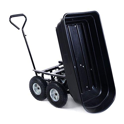 Garden-Dump-Cart-Black-Dumper-Wagon-Carrier-Wheelbarrow-With-Ebook-0-0