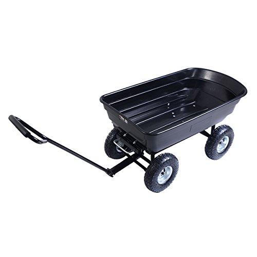 Garden-Dump-Cart-Black-Dumper-Wagon-Carrier-Wheelbarrow-With-Ebook-0-1