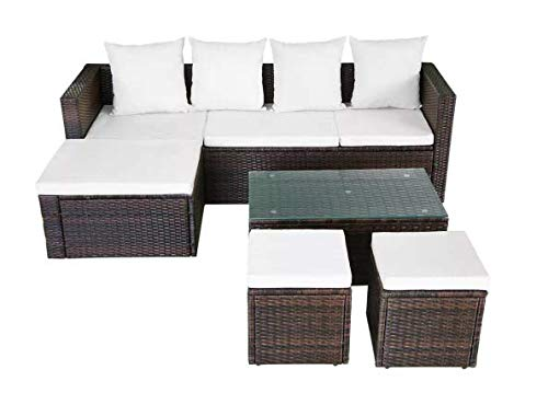 Garden-Lounge-Set-12-Pieces-Poly-Rattan-Brown-Stylish-Garden-Comfortable-Furniture-Waterproof-Outdoor-PE-Rattan-Powder-Coated-Steel-Frame-Glass-Tabletop-736-x-469-x-228-SKB-Family-0-0