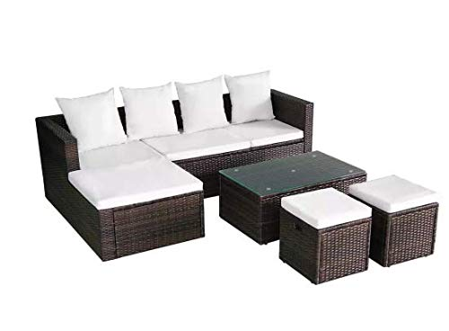 Garden-Lounge-Set-12-Pieces-Poly-Rattan-Brown-Stylish-Garden-Comfortable-Furniture-Waterproof-Outdoor-PE-Rattan-Powder-Coated-Steel-Frame-Glass-Tabletop-736-x-469-x-228-SKB-Family-0