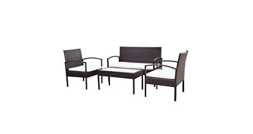 Garden-Sofa-Set-Seven-Pieces-Poly-Rattan-Brown-Polyester-Steel-Frame-Comfyleads-0-0