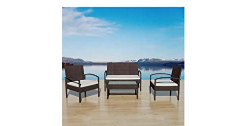 Garden-Sofa-Set-Seven-Pieces-Poly-Rattan-Brown-Polyester-Steel-Frame-Comfyleads-0