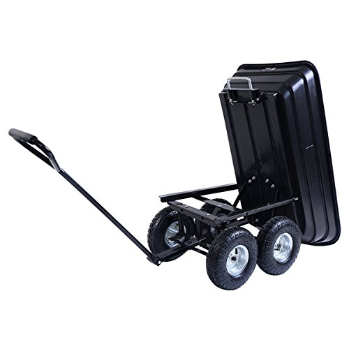 Giantex-600lb-Garden-Dump-Cart-Dumper-wHeavy-Duty-Steel-Frame-Pneumatic-Tires-Wagon-Carrier-Wheel-Barrow-0-1