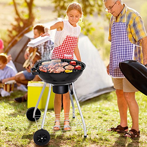 Giantex-Kettle-Charcoal-Grill-wWheels-Shelf-Temperature-Gauge-BBQ-Outdoor-Backyard-Cooking-Black-0-0