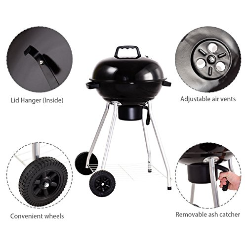 Giantex-Kettle-Charcoal-Grill-wWheels-Shelf-Temperature-Gauge-BBQ-Outdoor-Backyard-Cooking-Black-0-1