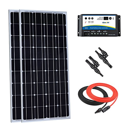 Giosolar-200-Watt-12-Volt-Monocrystalline-Solar-Panel-Kit-with-20Amp-Dual-Battery-Charge-Controller-Solar-Cable-MC4-Branch-Connectors-0
