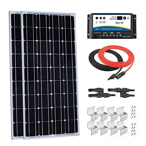 Giosolar-200W-12V-Solar-Panel-Starter-Kit-2pcs-100W-Monocrystalline-Solar-Panel-with-20A-Charge-Controller-for-RV-Boat-Off-Grid-Dual-Battery-0