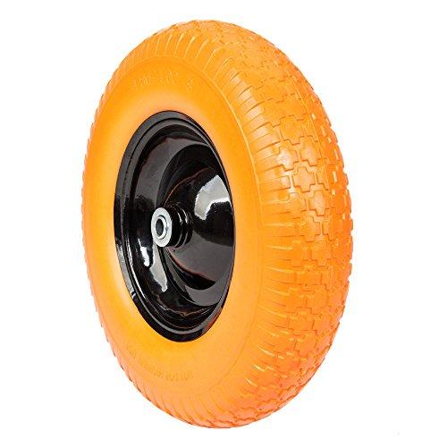 Globe-House-Products-GHP-16-Diameter-58-Ball-Bearing-Axle-Yellow-Solid-Foam-Flat-Free-Wheelbarrow-Tire-0-0