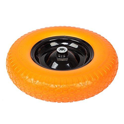 Globe-House-Products-GHP-16-Diameter-58-Ball-Bearing-Axle-Yellow-Solid-Foam-Flat-Free-Wheelbarrow-Tire-0
