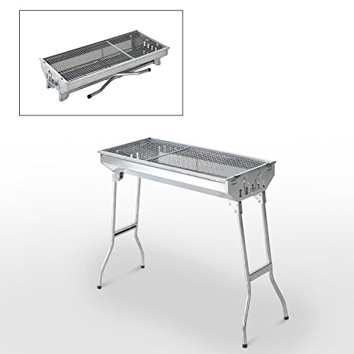 Globe-House-Products-GHP-287x13x28-Folding-SIlver-Rust-Resistant-Stainless-Steel-Charcoal-Barbecue-Grill-0-0
